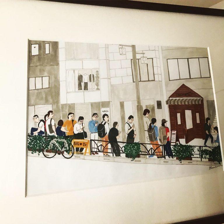 カレー屋さんに並ぶ人々の絵を手に入れました